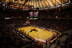 31 January 2009.  Illinois State hosts Bradley before a sold out crowd of 10,200 fans.  The Redbirds bested the Braves 69-65 and tied the Braves for a share of 2nd place in the Missouri Valley Conference.  This images shows the fans filtering into the stands surrounding Doug Collins Court with about 20 minutes to go till tip off.  Redbird Arena is in Normal Illinois.
