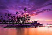 Sunset over Pu'uhonua O Honaunau National Historic Park (City of Refuge), Kona Coast, Hawaii USA