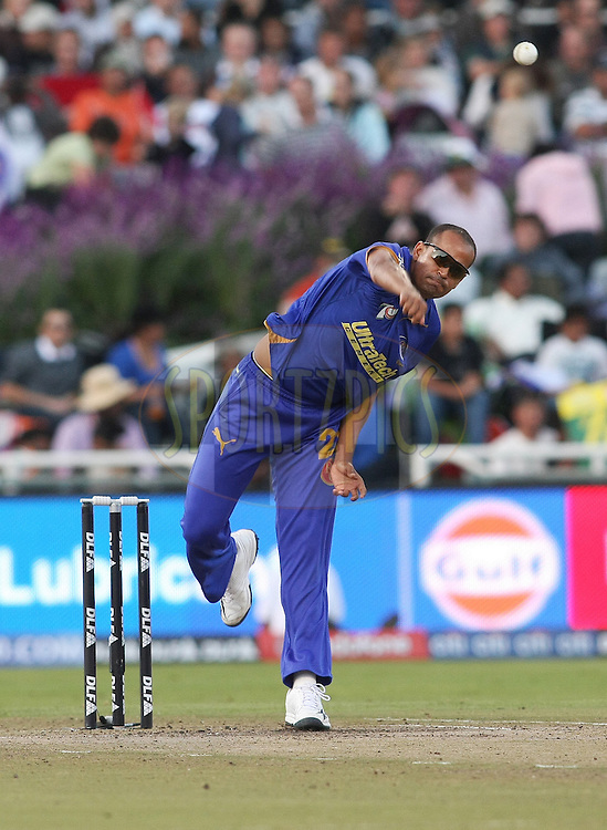 CAPE TOWN, SOUTH AFRICA - 26 April 2009. Yousuf Pathan bowls during the IPL Season 2 match between TheKings X1 Punjab and Rajasthan Royals held at Sahara Park Newlands in Cape Town, South Africa..