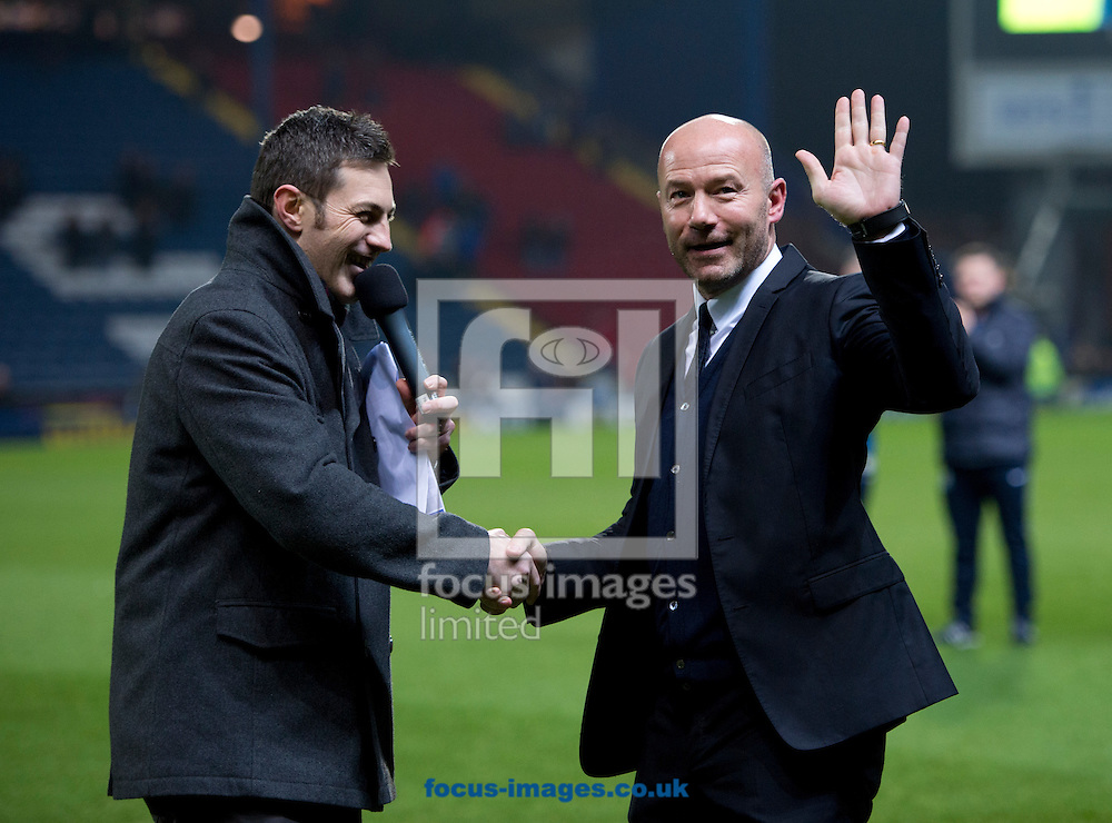 Former Blackburn Rovers player Alan Shearer (right) greets the crowd on the pitch before the Sky Bet Championship match at Ewood Park, Blackburn<br /> Picture by Russell Hart/Focus Images Ltd 07791 688 420<br /> 14/12/2015
