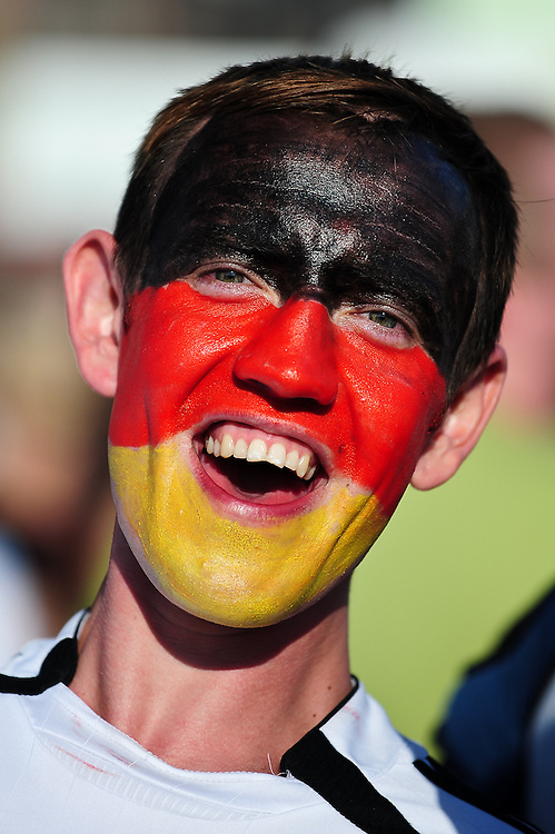 Thousands of fans watch the FIFA World Cup 2014 game between Germany and USA, broadcast at a large public viewing area in Freiburg, Germany.