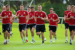 VALE DO LOBO, PORTUGAL - Thursday, May 26, 2016: Wale players training during day three of the pre-UEFA Euro 2016 training camp at the Vale Do Lobo resort in Portugal. Chris Gunter, Hal Robson-Kanu, Sam Vokes. (Pic by David Rawcliffe/Propaganda)