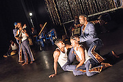 © Tony Nandi. 04/06/2015. Coup Fatal features Congolese counter-tenor Serge Kakudji, with an orchestra of 12 musicians from Kinshasa integrating Baroque phrases with traditional and popular Congolese music, rock and jazz. Sadler's Wells Theatre, London. Picture features: counter tenor Serge Kakudji, with Russell Tshiebua & Bule Mpanya. Photo credit: Tony Nandi