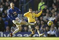 Photo: Aidan Ellis.<br /> Everton v Arsenal. The Barclays Premiership. 21/01/2006.<br /> Everton's Tony Hibbert blocks a cross from Arsenal's Jose Antonio Reyes