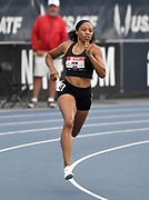 Jul 25, 2019; Des Moines, IA, USA; Allyson Felix places fourth in women's 400m heat in 52.20 during the USATF Championships at Drake Stadium.