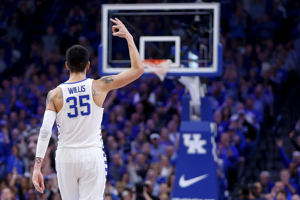 Kentucky Wildcats forward Derek Willis celebrates after a three pointer against the Kansas Jayhawks on Saturday January 28, 2017 at Rupp Arena in Lexington, Ky. Photo by Michael Reaves | Staff