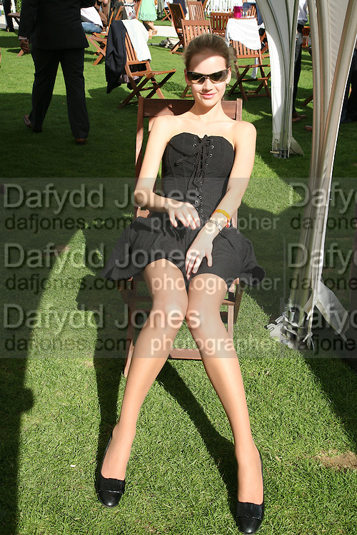 Tatiana Shamratova in the Chinawhite tent, Cartier International Polo. Guards Polo Club. Windsor Great Park. 29 July 2007.  -DO NOT ARCHIVE-© Copyright Photograph by Dafydd Jones. 248 Clapham Rd. London SW9 0PZ. Tel 0207 820 0771. www.dafjones.com.