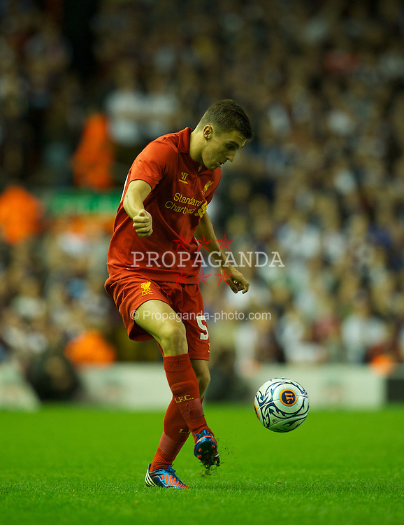LIVERPOOL, ENGLAND - Thursday, August 30, 2012: Liverpool's Adam Morgan in action against Heart of Midlothian during the UEFA Europa League Play-Off Round 2nd Leg match at Anfield. (Pic by David Rawcliffe/Propaganda)