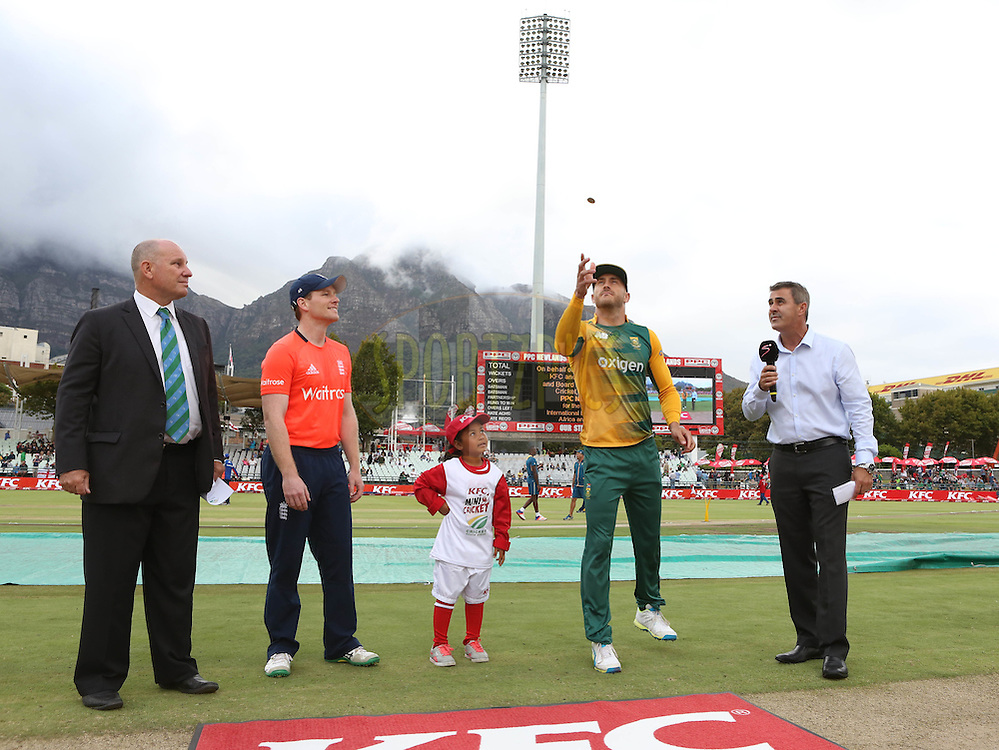 Eoin Morgan (captain) of England and FAF du Plessis of South africa during the First KFC T20 Match between South Africa and England played at Newlands Stadium, Cape Town, South Africa on February 19th 2016