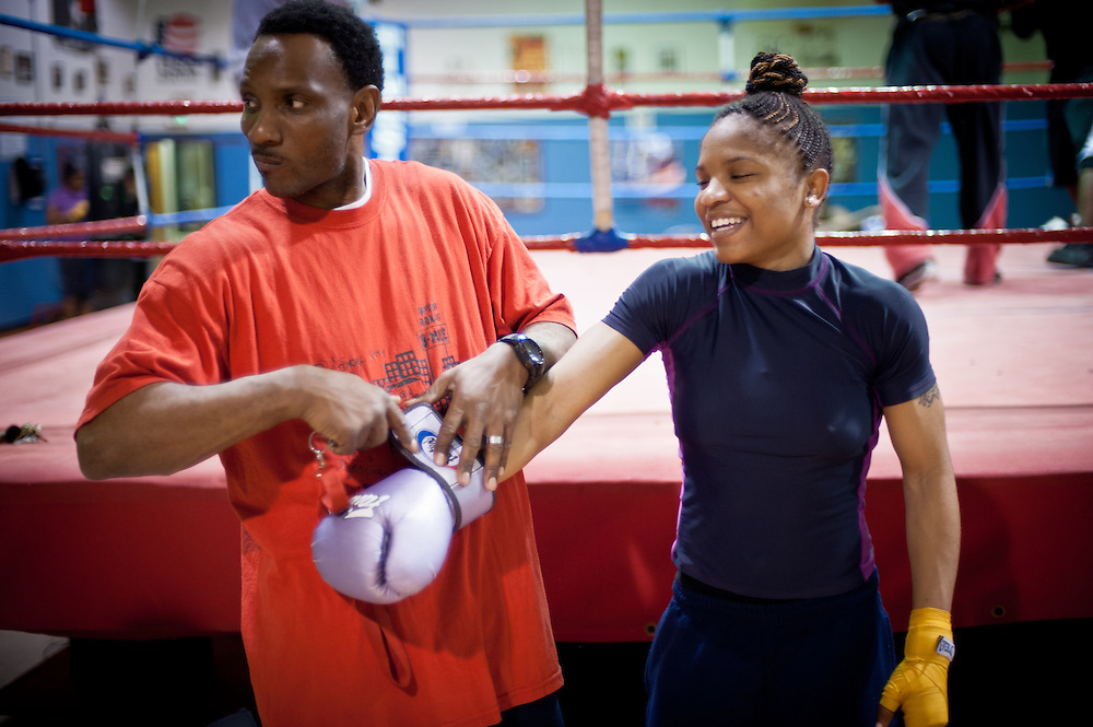 BALTIMORE, MD -- 1/10/12 - Tyrieshia Douglas, 22, is training for the U.S. Olympic Boxing Team. Currently ranked number 2 in the country at 112 lbs, she will go up against the best in the country at the Olympic Trials in Spokane, WA, starting on February 12. Fighting out of the Upton Boxing Center in Baltimore, she trains full-time.…by André Chung #AC2_4425