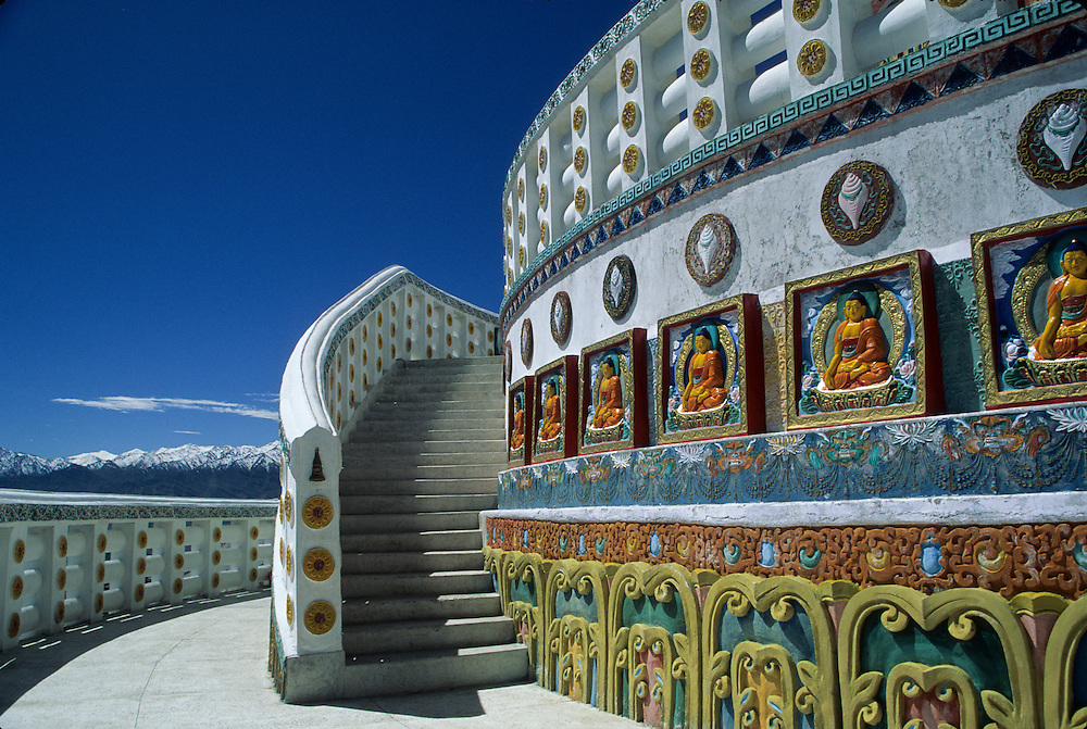 Asia, India, Jammu and Kashmir state, Ladakh, Leh, Shanti Stupa, a Buddhist stupa (chorten) built in 1985 by Japanese Buddhists as part of the construction of a series of Peace Pagodas.