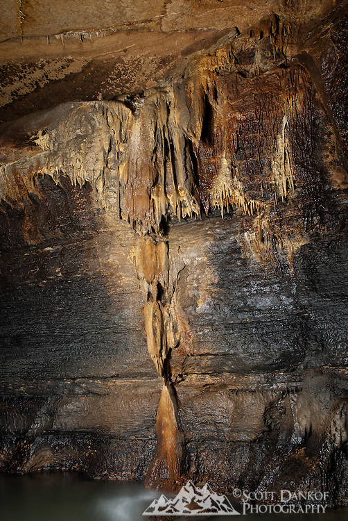 Formations in Coldwater Cave, Iowa.