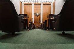 THEMENBILD - Plenarsaal. Aufgrund der Renovierung des Parlaments bleibt der Plenarsaal bis 2020 geschlossen. Die Mandatare weichen in die Hofburg aus. Aufgenommen am 14.07.2017 in Wien, Österreich // National Council Hall at the Austrian Parliament. Vienna, Austria on 2017/07/14. EXPA Pictures © 2017, PhotoCredit: EXPA/ Michael Gruber