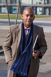 """© Licensed to London News Pictures . 01/03/2014 . London , UK . Chuka Umunna arrives at the conference . The Labour Party hold a one day """" Special Conference """" at the Excel Centre in London today (Saturday 1st March 2014) . Photo credit : Joel Goodman/LNP"""