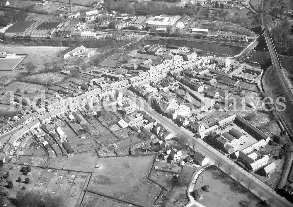 A345 Randelstown (Randalstown).   10/04/58 (Part of the Independent Newspapers Ireland/NLI collection.)<br /> <br /> <br /> These aerial views of Ireland from the Morgan Collection were taken during the mid-1950's, comprising medium and low altitude black-and-white birds-eye views of places and events, many of which were commissioned by clients. From 1951 to 1958 a different aerial picture was published each Friday in the Irish Independent in a series called, 'Views from the Air'.The photographer was Alexander 'Monkey' Campbell Morgan (1919-1958). Born in London and part of the Royal Artillery Air Corps, on leaving the army he started Aerophotos in Ireland. He was killed when, on business, his plane crashed flying from Shannon.