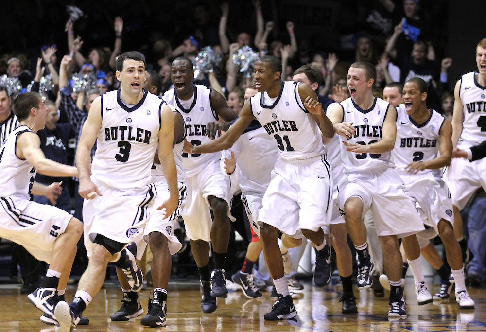Butler players react following a last second shot by Roosevelt Jones to win the game against Gonzaga at Hinkle Fieldhouse Saturday January 19, 2013. Butler won 64-63 .Photo by Chris Bergin