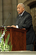 December 11, 2013-New York, NY:  The Honorable David Dinkins, Former Mayor of New York City attends the Nelson Mandela Commemorative Memorial service held at the Riverside Church on December 11, 2013 in New York City. Nelson Rolihlahla Mandela was inaugurated as the first black President of a democratic South Africa on May 10, 1994 bringing democracy and ending the oppressive rule of apartheid . (Terrence Jennings)