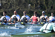 London, United kingdom.  MoleseyBC  right to left, Bow: Sam SCRIMEGOUR, 2: Pete ROBINSON, 3: Matt TARRANT, 4: Fred GILL , 5: Mo SBIHI,  6: Phil CONGDON, Pre 2014 Varsity Boat Race Fixture, Cambridge University BC vs Molesey Boat Club, over the Championship Course; Putney to Mortlake, River Thames, Greater London on Sunday  16/03/2014 [Mandatory Credit: Peter Spurrier/Intersport Images]<br /> <br />  <br /> <br /> CAMBRIDGE; Bow: Michael THORP, 2: Luke JUCKETT,  3: Ivo DAWKINS, 4: Steve DUDEK, 5: Helge GRUETJEN, 6: Matthew JACKSON, 7: Joshua HOOPER, Stroke: Henry HOFFSTOT, Cox: Ian MIDDLETON<br /> <br />  <br /> <br /> MOLESEY BC<br /> <br /> Bow: Sam SCRIMEGOUR, 2: Pete ROBINSON, 3: Matt TARRANT, 4:<br /> <br /> Fred GILL , 5: Mo SBIHI, <br /> <br /> 6: Phil CONGDON, 7: George NASH, Stroke: James FOAD, Cox: Henry<br /> <br /> FIELDMAN