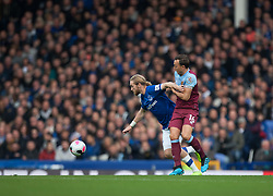 Tom Davies of Everton (L) and Mark Noble of West Ham United in action - Mandatory by-line: Jack Phillips/JMP - 19/10/2019 - FOOTBALL - Turf Moor - Burnley, England - Burnley v Everton - English Premier League