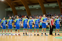 Players of National team of Slovenia during friendly handball match between National teams of Slovenia and Belarus, on April 8, 2018 in Sports hall Tri Lilije, Lasko, Slovenia. Photo by Urban Urbanc / Sportida