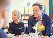 © Licensed to London News Pictures. 02/09/2014. London, UK. Nick Clegg joins children for breakfast.  Deputy Prime Minister Nick Clegg launches free school meals at Clapham Manor Primary School in Lambeth today 2nd September 2014. For many school returning from the school holidays this is the first day of the Governments universal infant free school meals.  Photo credit : Stephen Simpson/LNP