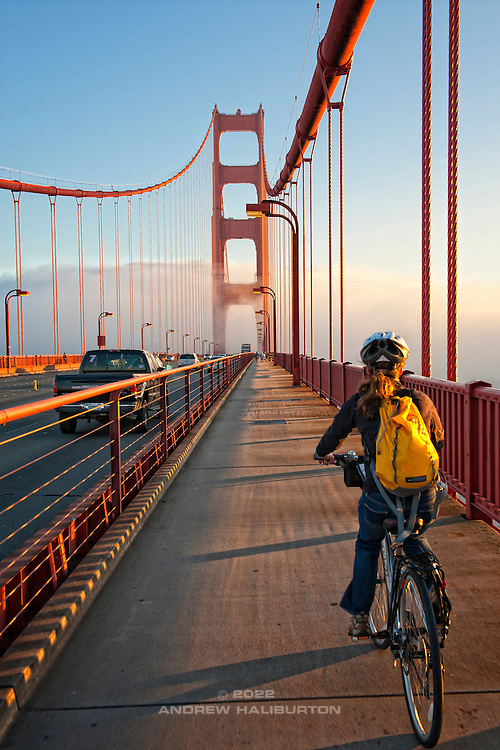 Cyclist crossing the Golden Gate Bridge, San Francisco, California. USA.