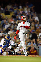 May 12, 2007:  #3 Ken Griffey Jr. drops the bat after hitting a fly ball as the Los Angeles Dodgers defeated the Cincinnati Reds 7-3 at Dodger Stadium in Los Angeles, CA.