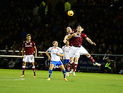 Northampton Town defender Ryan Cresswell  and Northampton Town defender Zander Diamond battle for possession  during the Sky Bet League 2 match between Northampton Town and Portsmouth at Sixfields Stadium, Northampton, England on 19 December 2015. Photo by Dennis Goodwin.