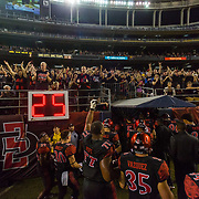 15 September 2018: Fans cheer on the team as they head for the locker room at half time tied 14-14 with the Arizona State Sun Devils. The Aztecs beat the Sun Devils 28-21 at SDCCU Stadium in San Diego, California.