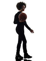 one mixed race african young teenager girl woman basketball players in studio shadow silhouette isolated on white background