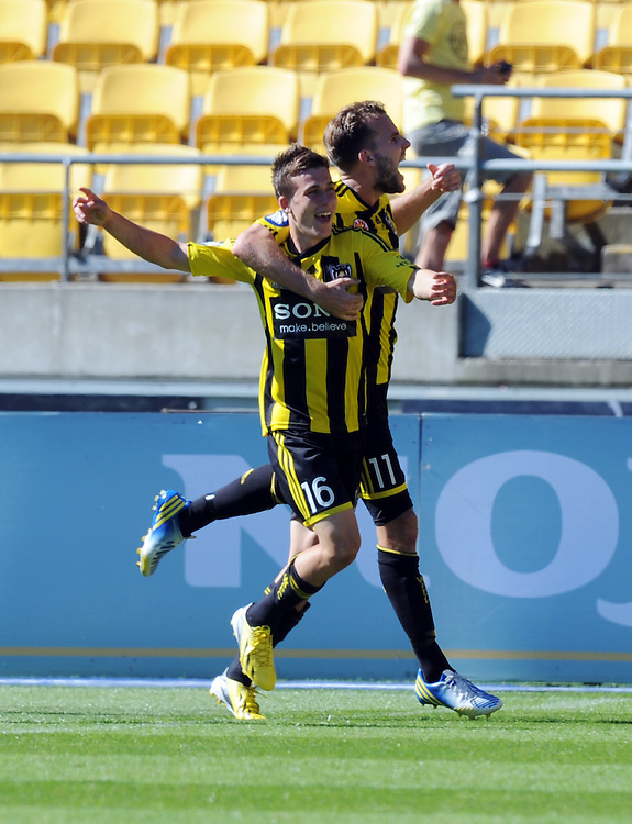 Phoenix's Louis Fenton, left, celebrates with Jeremy Brockie his goal against the Newcastle Jets in the A-League football match at Westpac Stadium, Wellington, Sunday, January 27, 2013. .Credit:SNPA / Ross Setford