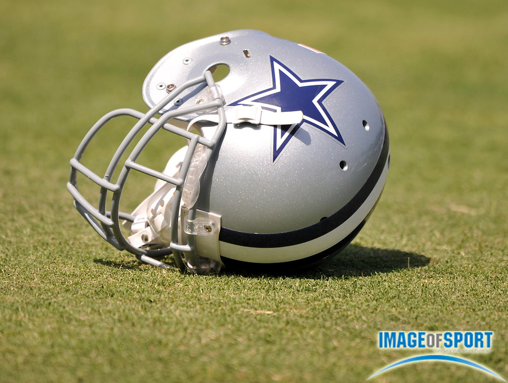 Jul 28, 2008; Oxnard, CA, USA; Dallas Cowboys helmet on the field at training camp at River Ridge Field at Residence Inn by Marriott. Mandatory Credit: Kirby Lee/Image of Sport-US PRESSWIRE