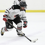 Bennett Lambert #9 of the MIT Engineers controls the puck during the game at Johnson Ice Rink on March 1, 2014 in Cambridge, Massachusetts . (Photo by Elan Kawesch/CJP)