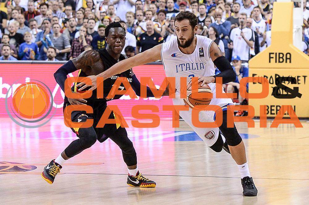 DESCRIZIONE : Berlino Berlin Eurobasket 2015 Group B Germany Germania - Italia Italy<br /> GIOCATORE : Marco Bellinelli<br /> CATEGORIA : Palleggio Penetrazione<br /> SQUADRA : Italia Italy<br /> EVENTO : Eurobasket 2015 Group B<br /> GARA : Germany Italy - Germania Italia<br /> DATA : 09/09/2015<br /> SPORT : Pallacanestro<br /> AUTORE : Agenzia Ciamillo-Castoria/M.Longo