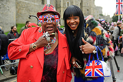 ©  London News Pictures. 21/04/2016. Windsor, UK. SANDRA MARTIN (left) SANDY  CHANNER (right) and from Gogglebox, outside Windsor Castle ahead of a walkabout by HRH Queen Elizabeth II  in the town of Windsor, Berkshire on the day of her 90th birthday.  Queen Elizabeth is currently the longest serving monarch of the UK, having served for over 60 years. Photo credit: Ben Cawthra/LNP