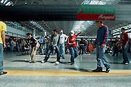 """Rome, Italy 30/04/2004: Passengers waiting to check in the Italian airline company """"Alitalia"""" , strike workers of  Fiumicino Airport """"Leonardo da Vinci""""..©Andrea Sabbadini"""