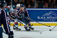 KELOWNA, CANADA - JANUARY 3: Kyle Topping #24 of the Kelowna Rockets back checks his brother Jordan Topping #12 of the Tri-City Americans on January 3, 2017 at Prospera Place in Kelowna, British Columbia, Canada.  (Photo by Marissa Baecker/Shoot the Breeze)  *** Local Caption ***