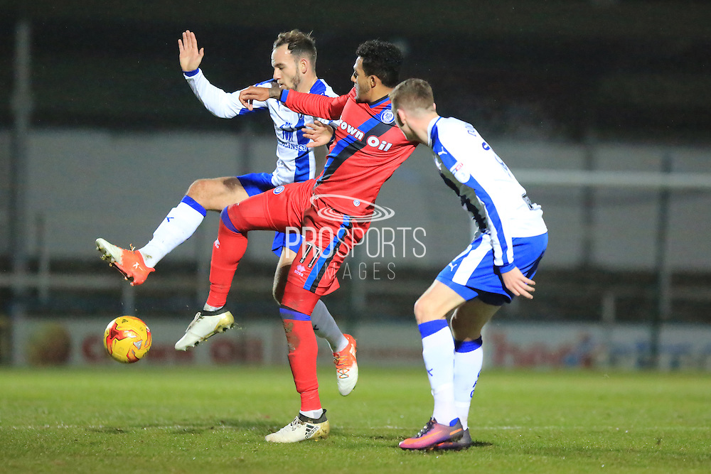 Nathaniel Mendez-Laing challenge during the EFL Trophy match between Rochdale and Chesterfield at Spotland, Rochdale, England on 6 December 2016. Photo by Daniel Youngs.