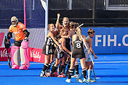 Charlotte Stapenhorst of Germany (12) scores a goal and celebrates with team mates(1-0) during the Vitality Hockey Women's World Cup 2018 Pool C match between Germany and Argentina at the Lee Valley Hockey and Tennis Centre, QE Olympic Park, United Kingdom on 25 July 2018. Picture by Martin Cole.