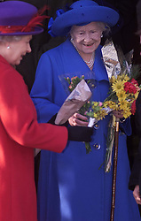 .TTP11-AP-ROYALS/SANDRINGHAM-DIG..PIC BY ANDREW PARSONS . THE ROYAL FAMILY ON CHRISTMAS DAY  AT CHURCH IN SANDRINGHAM , NORFOLK. THE QUEEN AND THE QUEEN MOTHER AFTER THE SERVICE Royals in Sandringham..The Royal Family on Christmas Day at church in Sandringham, Norfolk. The Queen and the Queen Mother 2000. Photo by Andrew Parsons/i-Images.Royals in Sandringham..The Royal Family on Christmas Day at church in Sandringham, Norfolk. The Queen and the Queen Mother 2000. Photo by Andrew Parsons/i-Images.Queen Mother at Sandringham attending church service on Christmas Day 2000. Photo by Andrew Parsons/i-Images.Queen Mother and Queen at Sandringham attending church service on Christmas Day 2000. Photo by Andrew Parsons/i-Images.