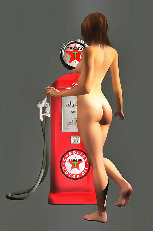 Early Texaco gas pumps featured iconic imagery and colors. You can bring those colors back to striking life with this impressive fine art piece. As a provocative contrast to the gas pump, we can see a nude woman facing away from us. Her nude backside is combined with a demure pose, and we can only imagine what might be happening in this compelling, unique piece. This is an excellent example of pop art, and it can make for a welcome addition to just about any room or space you can imagine. There is a unique energy to this piece that makes it very appealing. .<br />
