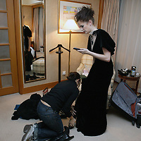 BEIJING, JANUARY-29: Eva Green checks her wardrobe before the premiere of Casino Royale in Beijing.