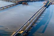 Nederland, Zuid-Holland, Hollands Diep, 07-02-2018; Hollandsch Diep, de grens tussen Brabant en Zuid-Holland met spoorbruggen en brug voor het autoverkeer. HSL-brug en de Moerdijkspoorbrug rechts in de voorgrond. Foto richting Moerdijk (in westelijke richting). <br /> Railwaybridges across Hollandsch Diep.<br /> luchtfoto (toeslag op standard tarieven);<br /> aerial photo (additional fee required);<br /> copyright foto/photo Siebe Swart