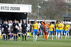 Bristol Rovers are lead out by Bristol Rovers' Mark McCrystal - Photo mandatory by-line: Neil Brookman/JMP - Mobile: 07966 386802 - 18/04/2015 - SPORT - Football - Dover - Crabble Athletic Ground - Dover Athletic v Bristol Rovers - Vanarama Football Conference