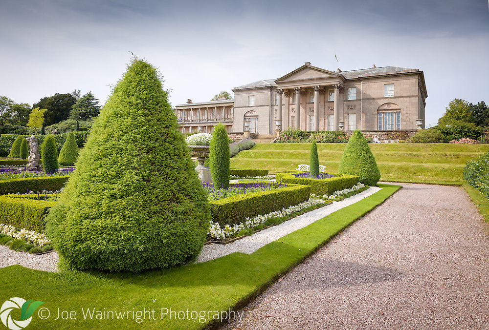 The neoclassical mansion at Tatton Park, Knutsford, Cheshire, viewed from the Italian Garden.