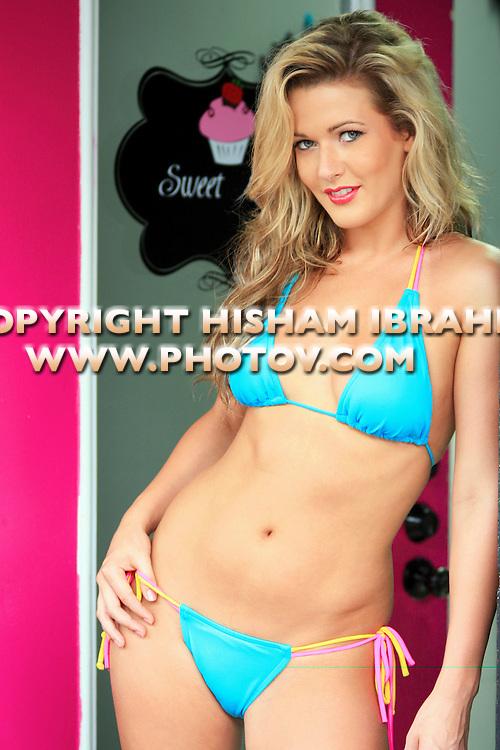 Sexy Blonde woman in bikini, Freeport, Bahamas