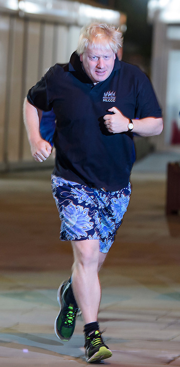 © Licensed to London News Pictures. 03/10/2017. Manchester, UK. British foreign secretary BORIS JOHNSON seen running ahead of his speech on day three of the Conservative Party Conference. The four day event is expected to focus heavily on Brexit, with the British prime minister hoping to dampen rumours of a leadership challenge. Photo credit: Ben Cawthra/LNP
