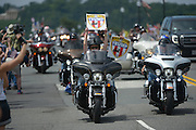Participants in the annual Rolling Thunder Ride for Freedom make their way across the Memorial Bridge in Washington, D.C., May 29, 2016.   Photo by Molly Riley/UPI
