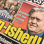"New York Post newspaper headline "" Ban-ished"" Bannon is out."