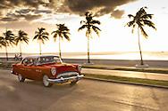 Red Cuban Car, Cienfuegos, Cuba